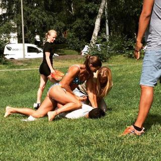 Off-duty Swedish police officer Mikaela Kellner stops a suspected thief Wednesday despite wearing nothing but a bikini.   (Jenny Kitsune Adolfsson)